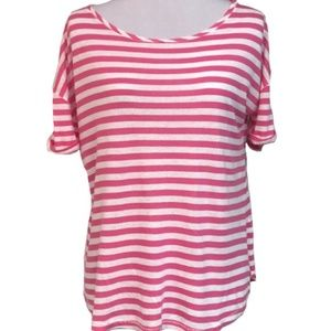 Pink & White Striped Short Sleeve Tee